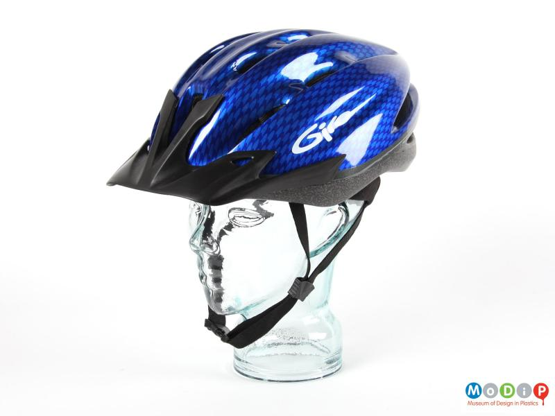 Side view of a Giro helmet showing the EPS inner and PC outer.