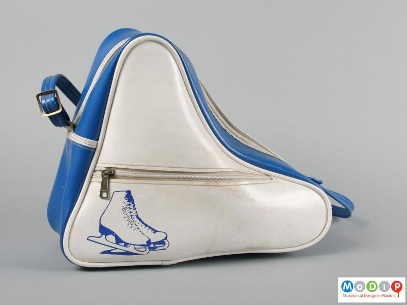 Side view of a pair of ice skates showing the carrying case.