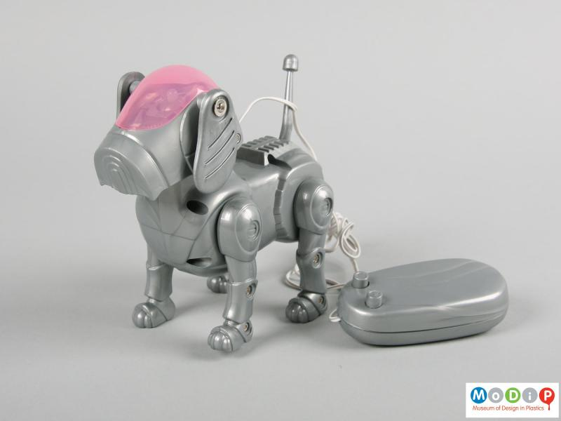 Front view of a toy dog showing the two button controller.
