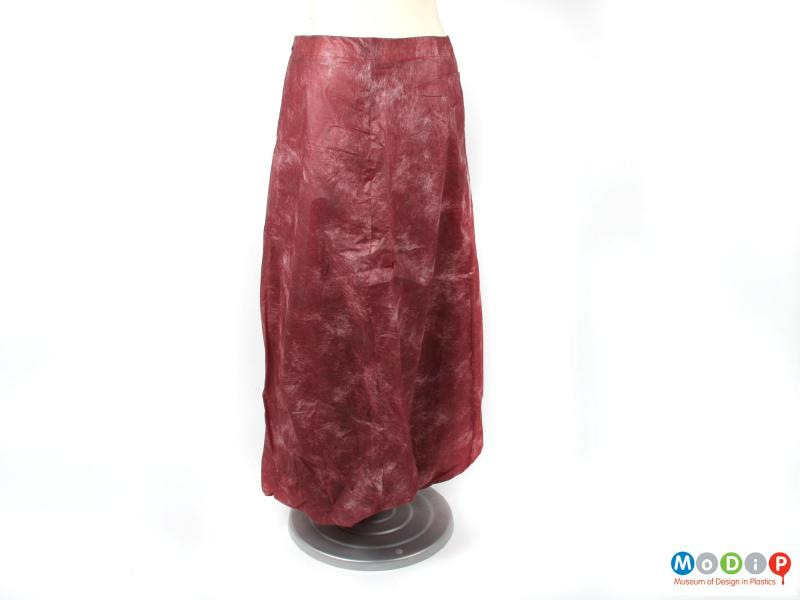 Rear view of a skirt showing the sewn panels.