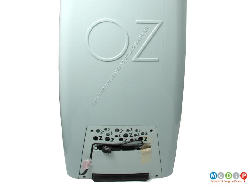Rear view of an Oz fridge showing the moulded details of the designer and company.