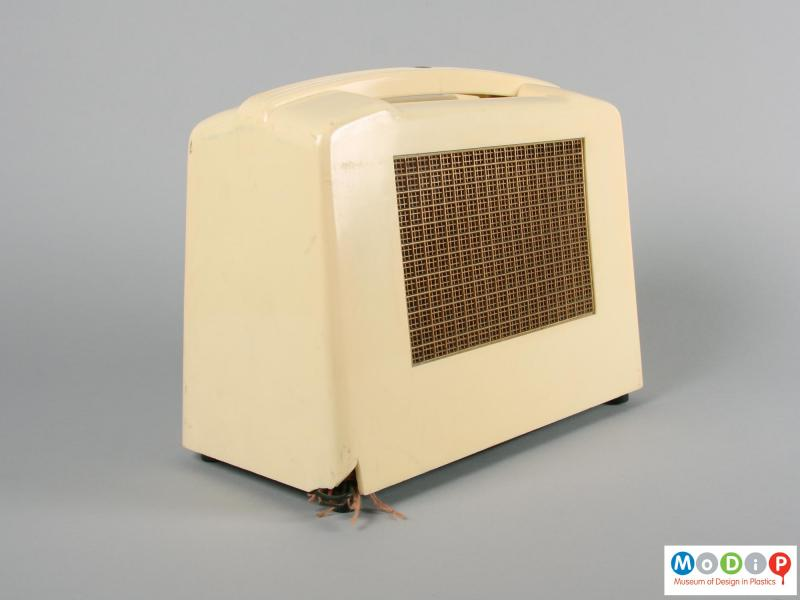 Rear view of a radio showing the speaker grill.