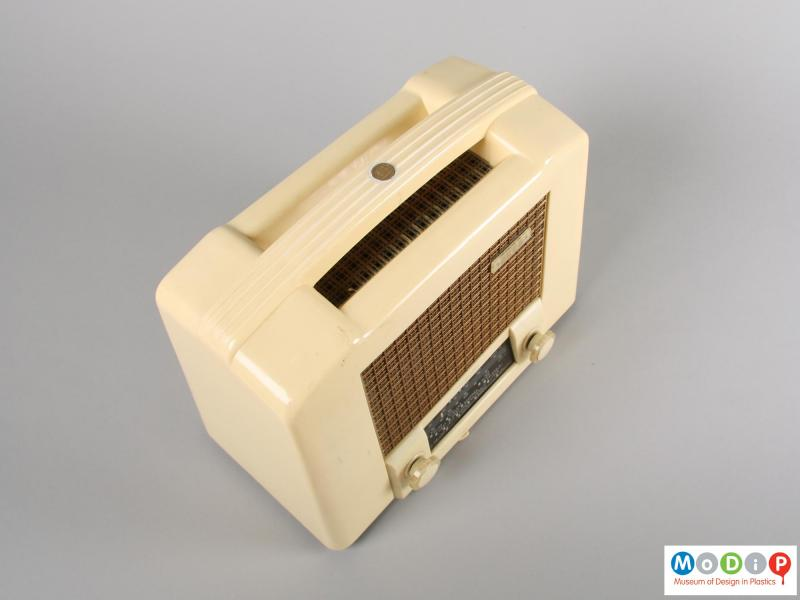 Top view of a radio showing the carrying handle.