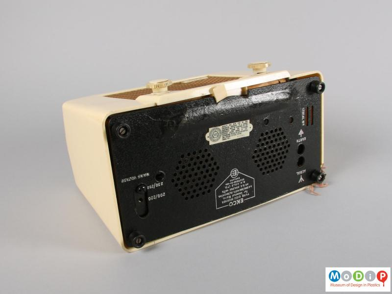 Underside view of a radio showing the feet and base cover.