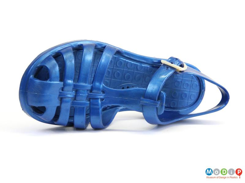 Top view of a shoe showing the moulded insole.