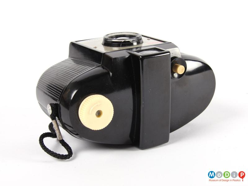 Top view of a camera showing the film winder and shutter button.