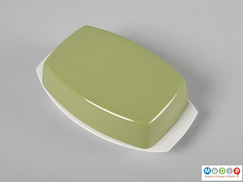 Top view of a butter dish showing the lid.