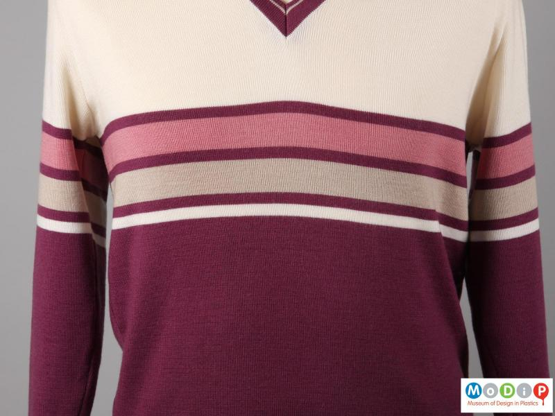 Close view of a sporting jumper showing the fabric.