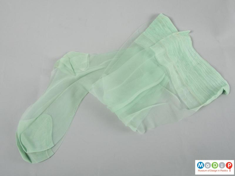 Side view of a pair of stockings showing the colour.