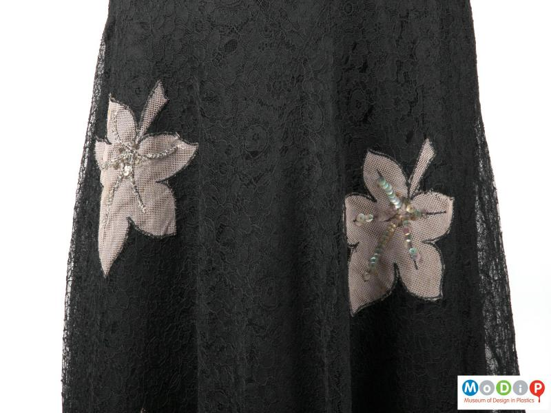 Close view of a dress showing the fabric.