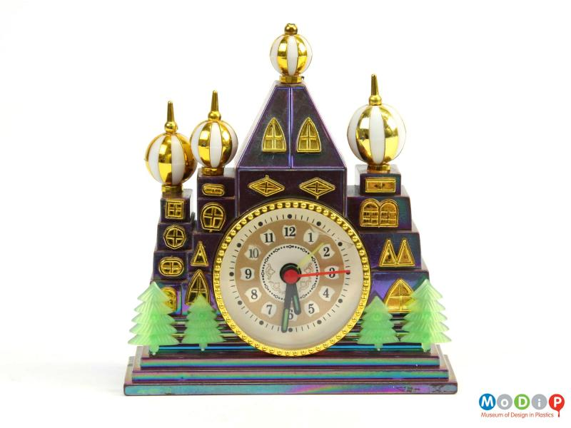 Front view of a clock showing the iridescent colouring.