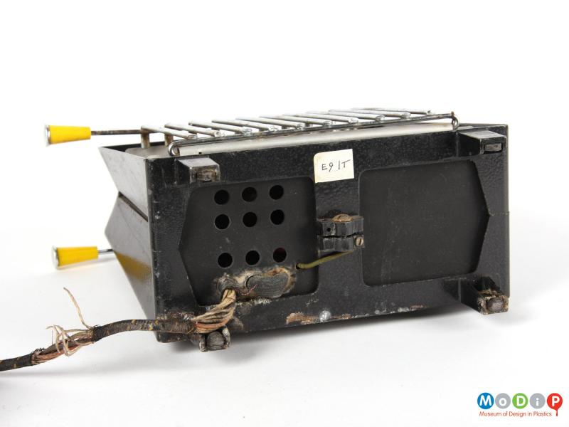 Underside view of a GEC toaster showing the electrical cable in the base.