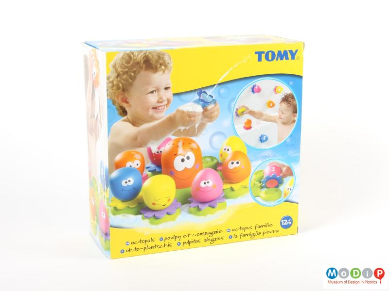 Front view of a bath toy showing the packaging.
