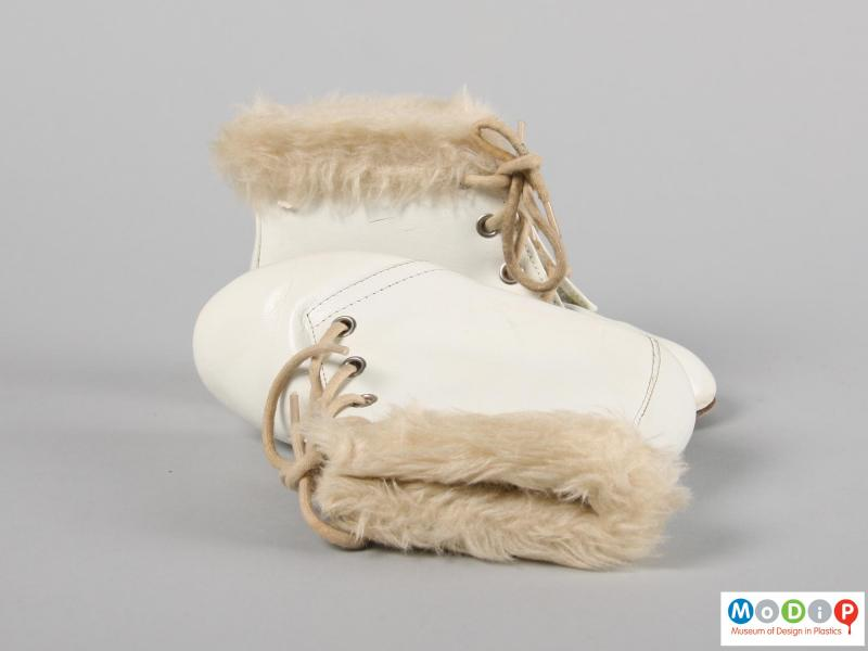 Top view of a pair of boots showing the fake fur trim.