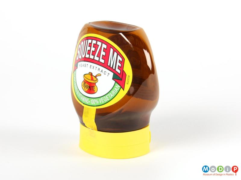 Side view of a Marmite jar showing the depth of the body.