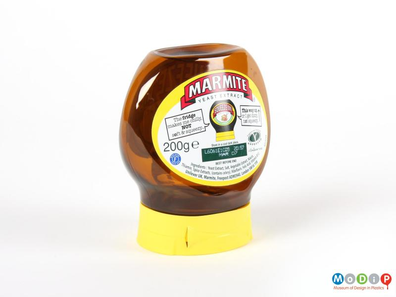 Side view of a Marmite jar showing the hinge in the lid.