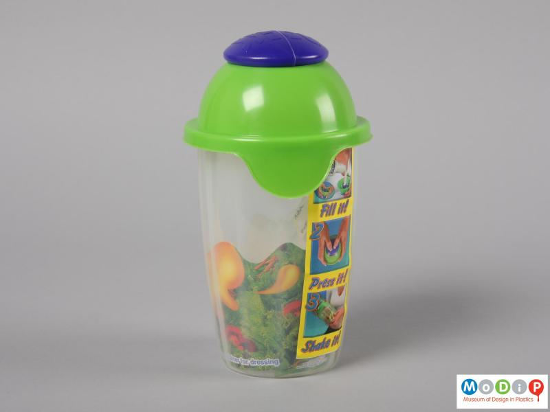 Side view of a Salad Blaster showing the container with the sales packaging.
