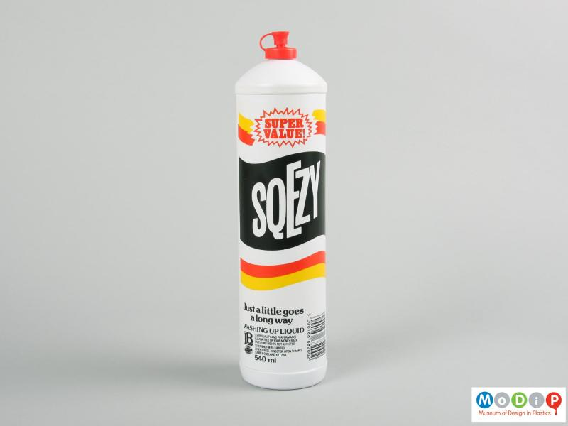 Rear view of a Sqezy bottle showing the printed design.
