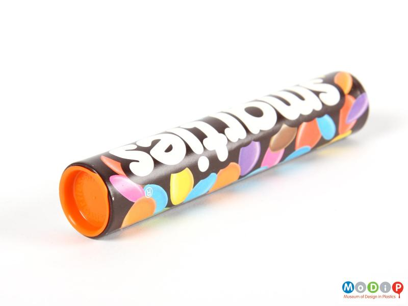 Top view of a Smarties tube showing the lid.