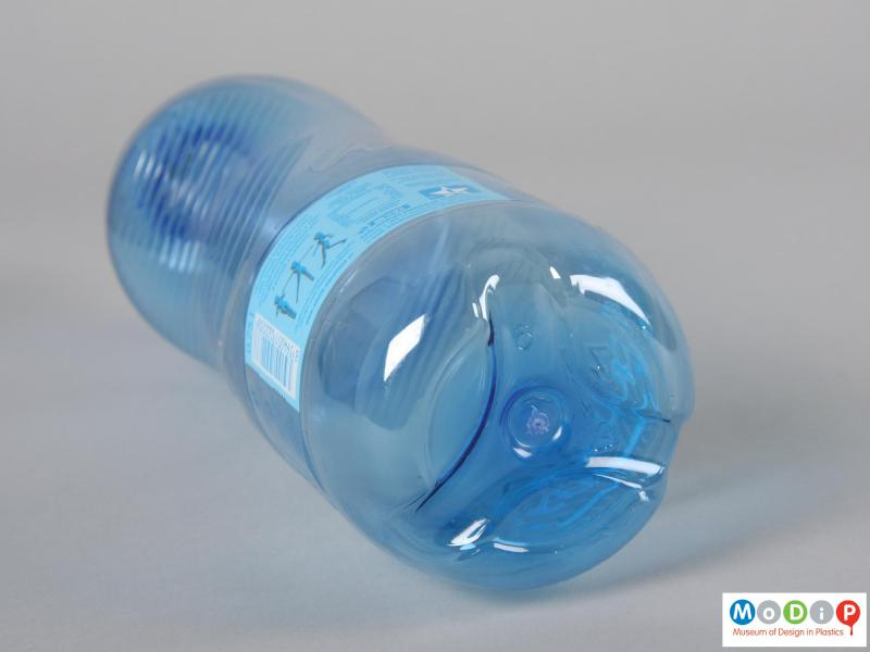 Underside view of a Aquila Aquagym bottle showing the base with three moulded feet.