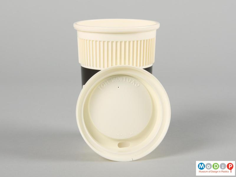 Top view of a disposable coffee cup showing the inside of the lid.