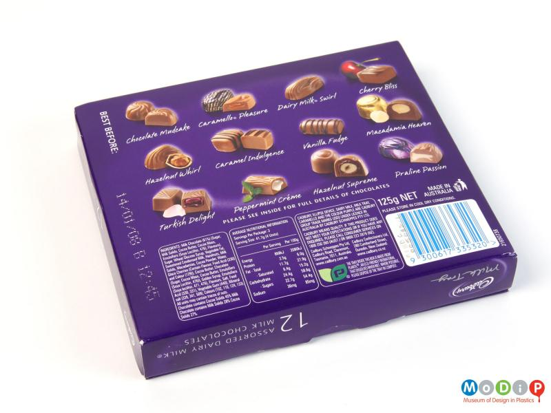 Underside view of a chocolate box showing the printed base.