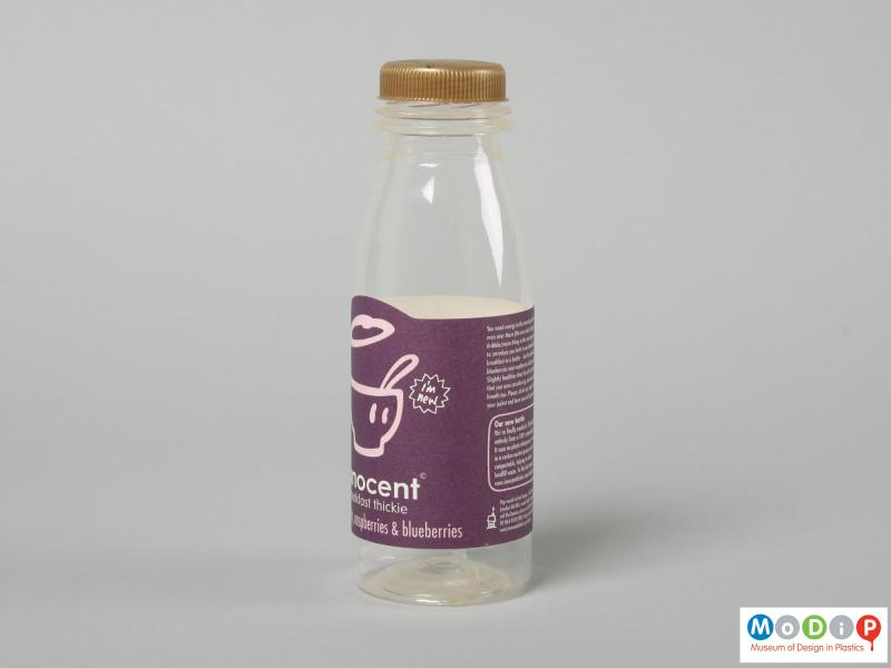 Side view of an Innocent Smoothie bottle showing the shape of the paper label.
