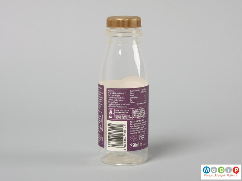 Side view of an Innocent Smoothie bottle showing the straight sides and wide neck.