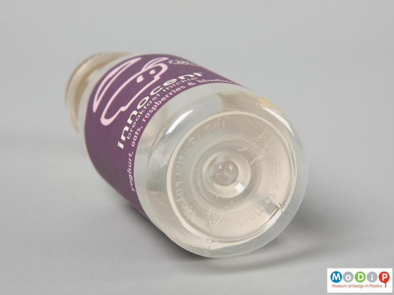 Underside view of an Innocent Smoothie bottle showing the moulded insription.