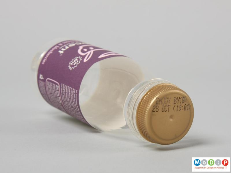 Top view of an Innocent Smoothie bottle showing the gold coloured lid.