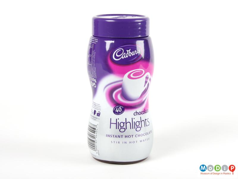 Side view of a Cadbury's Highlights jar showing the printed shrink-wrapping.