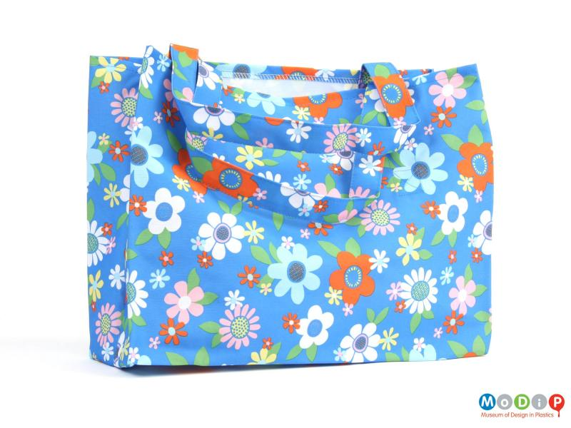 Rear view of a bag showing the floral print.