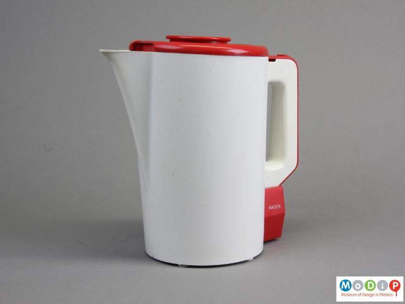 Side view of a jug kettle showing the slender spout.