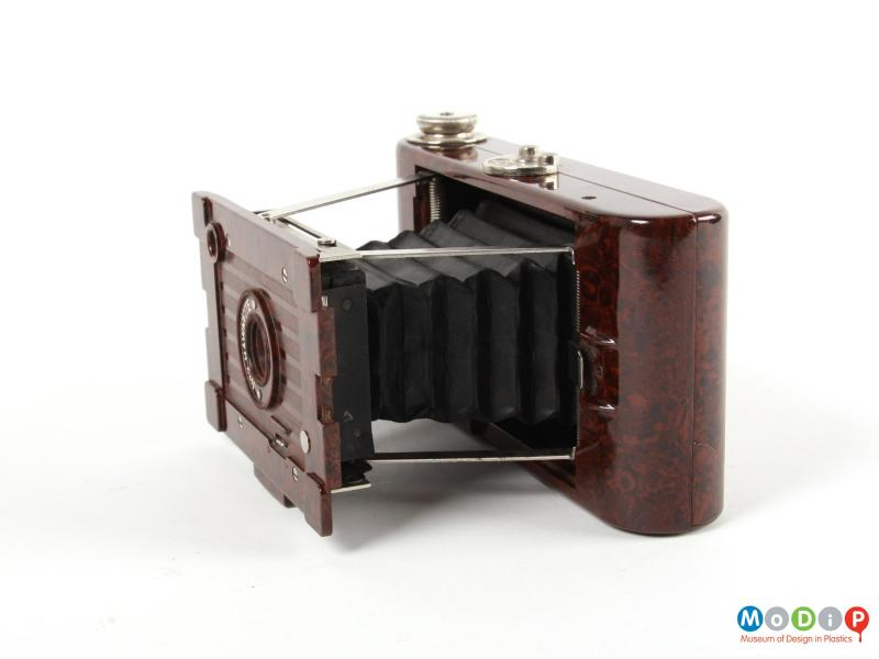 Side view of a camera showing the open bellows.