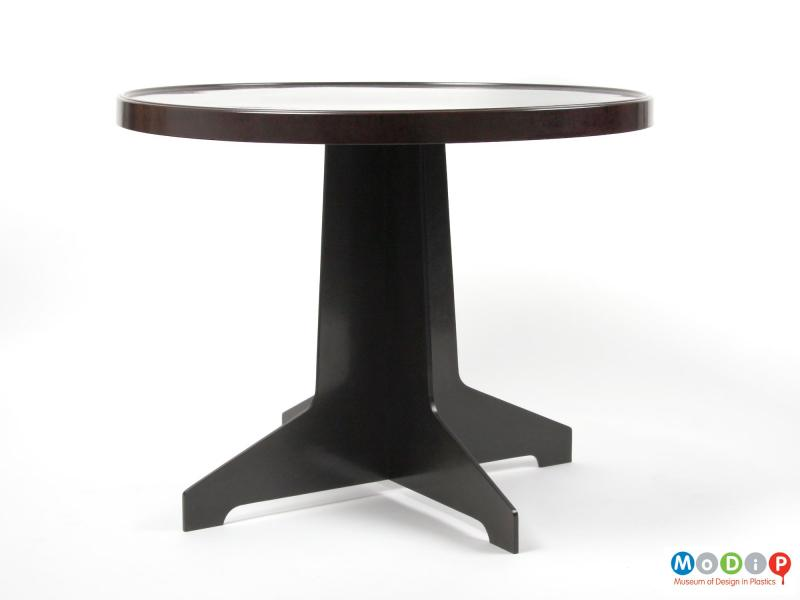 Side view of a table showing the straight legs.