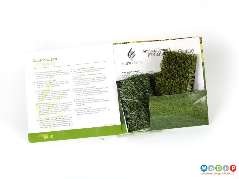 Front view of a grass sample showing the information pack.