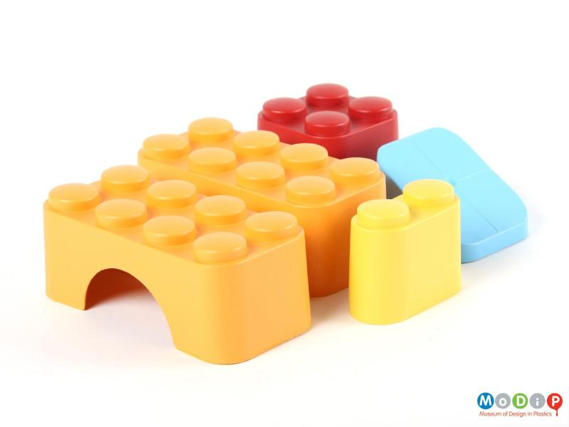 Top view of a set of building blocks showing the 5 different shaped blocks.