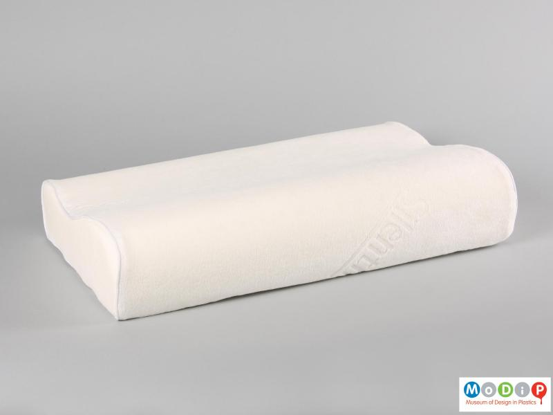 Side view of a pillow showing the soft cover.