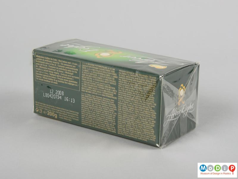 Side view of a box showing the wrapper.