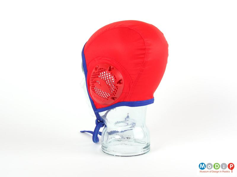 Rear view of a water polo cap showing the stitched sections.