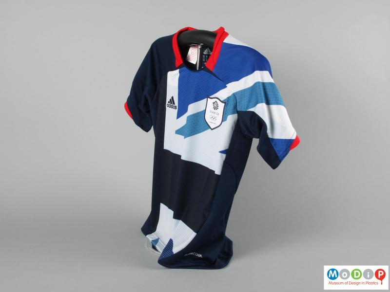 Side view of a football jersey showing the Union flag design.