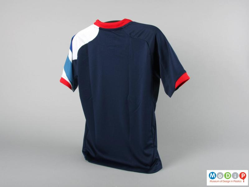 Rear view of a football jersey showing the plain back.