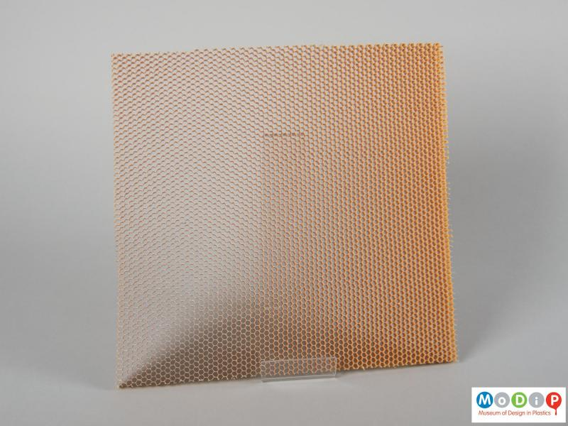 Front view of a material sample showing the honeycomb structure.