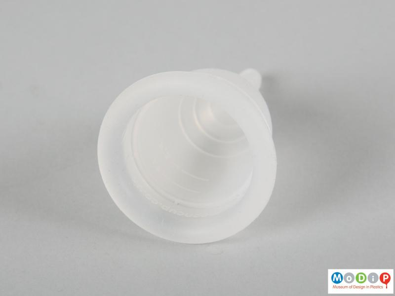 Top view of a menstrual cup showing the round cup opening.