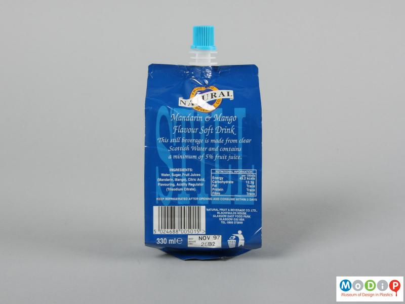 Rear view of a drink pouch showing the printed surface.