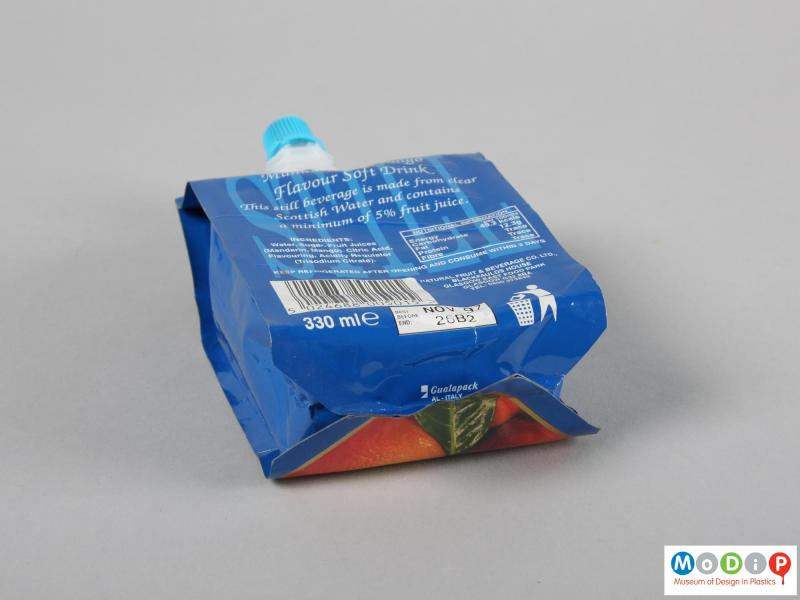 Underside view of a drink pouch showing the sealed base.