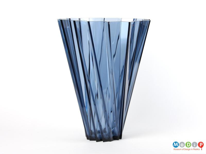 Side view of a vase showing the angular shape.