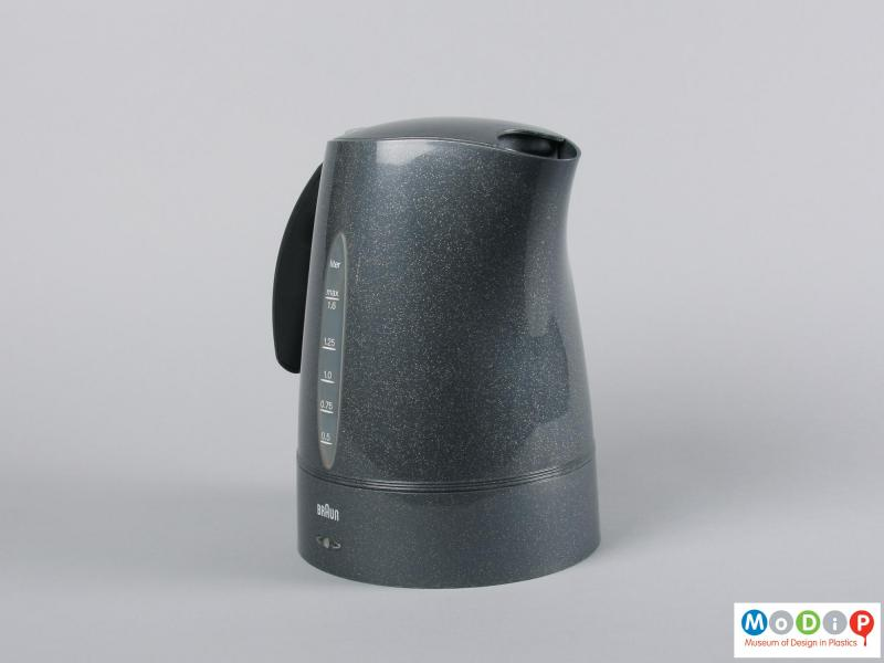 Side view of a kettle showing the flecked colouring.