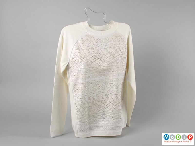 Front view of a jumper showing the patterned front panel.