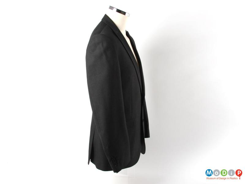 Side view of a jacket showing the sleeves.